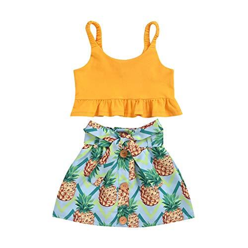 LEXUPE Kleinkind Kinder Baby Mädchen Solid Weste Tops + Ananas Röcke Sommer Outfits Set(Gelb,100)