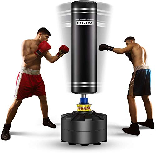 Kitopa Freestanding Punching Bag, 69 Inch Heavy Punching Bag with Suction Cup Base for Adult Youth Men Maximum 182 lb Stand Kickboxing Bags Kick Punch Bag (Black)