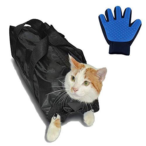 Bestbuy Katzen-Pflegetasche + Haustierhandschuh, Katzen-Pflege-Badetasche zum Reinigen von Ohren, Schneiden von Nägeln, Medizinfütterung resistent gegen Kratzer und Beißen