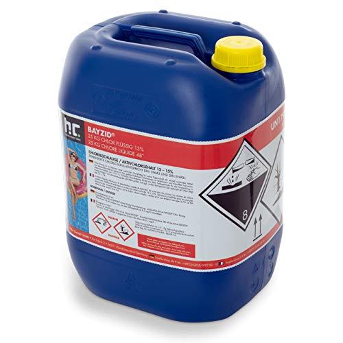 Chlor Flüssig 1 x 25 kg - Pool Flüssigchlor mit 13 bis 15{c57c05d07825b86d8f8d709d7424edf2d3927c4e69bc80910e5a8062096b23a8} Aktivchlorgehalt zur Poolpflege und Wasserdesinfektion - Made in Germany - Höfer Chemie
