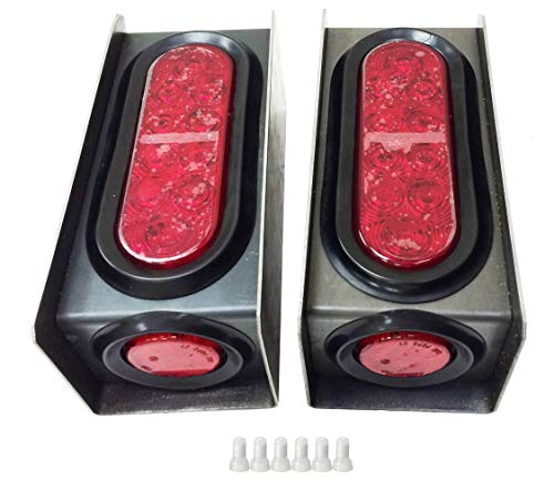 """2 Steel Trailer Light Boxes w/6"""" LED Oval Tail Lights & 2"""" LED Red Round Side Lights w/ wire connectors"""
