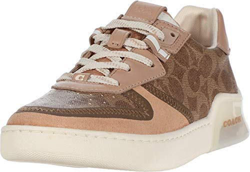 Coach City Sole Court Sneaker Tan/Beechwood Mixed Material 7.5