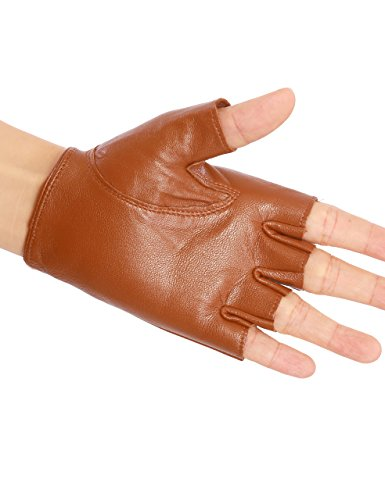 May&Maya Women's Genuine Nappa Leather Fingerless Motorcycle Fashion Driving Gloves (S, Brown)