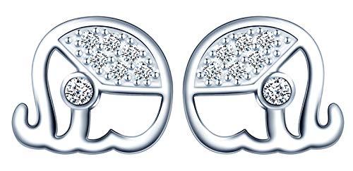 Infinite U - Pendientes de plata de ley 925 para mujer y niña, mini pendientes de elefante, con incrustaciones de circonita, plata
