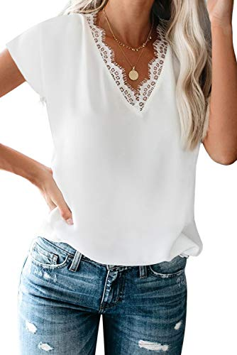 BLENCOT Women Ladies Sexy V Neck Lace Trim Short Sleeve Tops Casual Loose Blouse Shirts Work White L