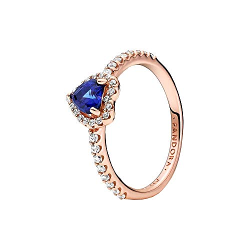 Pandora Anillo de corazón azul brillante de 14 quilates, aleación de metal chapado en oro rosa 52