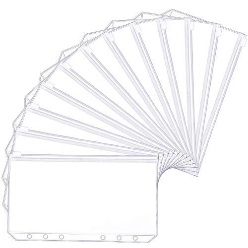 A5 Größe 6 Löcher Binder Taschen Durchscheinende Kunststoff Binder Reißverschluss Mappe Wasserdichter Reißverschluss Lose Blatt Taschen für Dateien Dokumente Notizbücher Karten (12 Stücke )