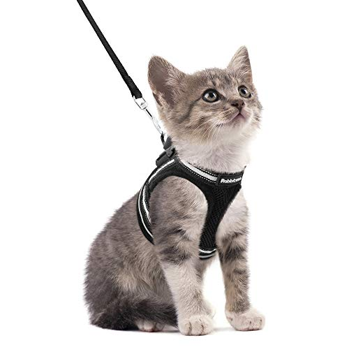 """rabbitgoo Cat Harness and Leash Set for Walking Escape Proof, Adjustable Soft Kittens Vest with Reflective Strip for Cats, Step-in Comfortable Outdoor Vest, Black, S (Chest:9.0""""-12.0"""")"""