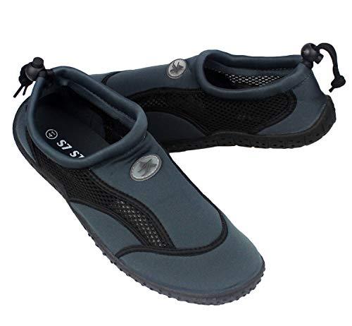 Zapatos de Agua, Zapatillas para Buceo Snorkel Surf Piscina Playa Vela Mar Río Aqua Cycling Deportes Acuáticos, Calzado de Natación Escarpines para Hombre Mujer Unisex (Gris, Numeric_42)