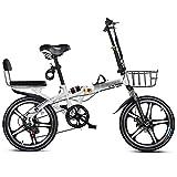 Bicicletas Triciclos Plegables Portátiles De Velocidad Variable Superligeras para Adultos Estudiantes con Amortiguación De Impactos De 16 Pulgadas Y 20 Pulgadas