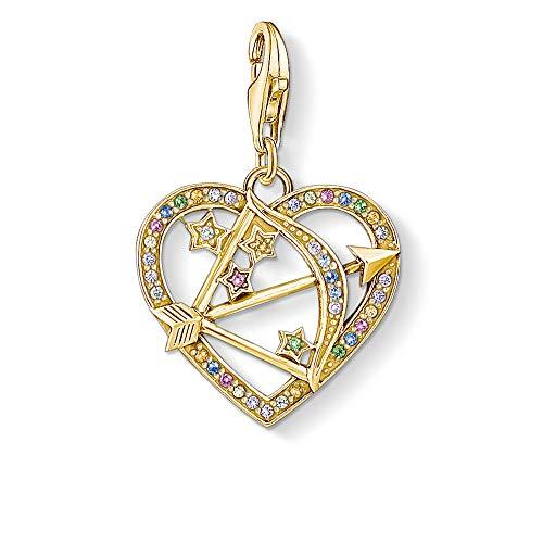Thomas Sabo Damen Charm-Anhänger Amors Pfeil 925 Sterling Silber, 750 Gelbgold Vergoldung 1821-996-7