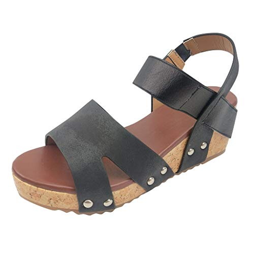 Buy Women Sandals Elastic Band - KCPer Summer Ladies Open Toe Breathable Beach Sandals Plus Size Cas...