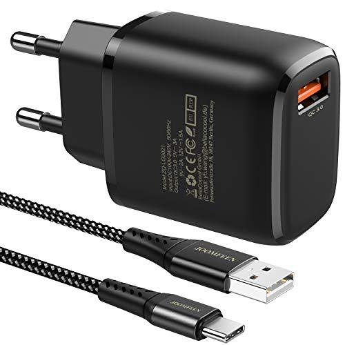 JOOMFEEN Quick Charge 3.0 Cargador USB Tipo C de Pared con Cable USB C 2M,18W QC 3.0 Cargador Móvil Carga Rapida para Samsung Galaxy S20 S10 S9 S8 Plus Note 10,Huawei P30/P20,Xiaomi Mi 9 Redmi Note 9