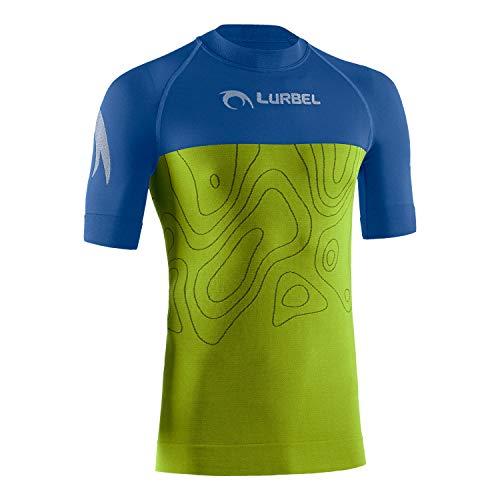 LURBEL Camiseta Samba Short Sleeves, Camiseta técnica de Hombre, Camiseta Trail Running, Camiseta Transpirable y Anti-Olor, Camiseta para Correr. (Blue - Pistacho, Mediana - M)