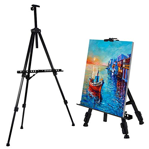 amzdeal Chevalet de Peinture -Hauteur Adjustable 52cm-162cm, Chevalet de Campagne Pliable et Léger en Alliage d'Aluminium et Fer avec Un Sac, Idéal pour Artistes, Débutants et Étudiants