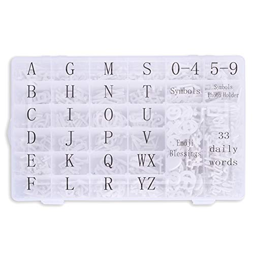 Letter Board Letters, 713 PRE-Cut Characters (3/4 and 1 Inch, White) with Sorting Tray