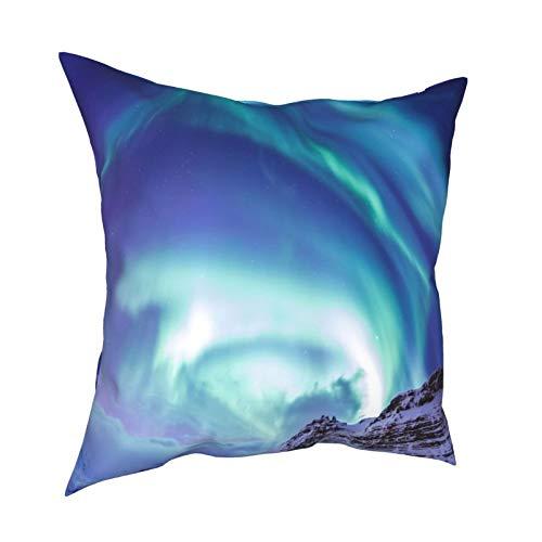 iksrgfvb Throw Pillow Case Fundas de cojín Northern Lights Islandia Lugares para visitar Fundas de Almohada cuadradas para el sofá de la Sala de Estar 18 x 18 Pulgadas