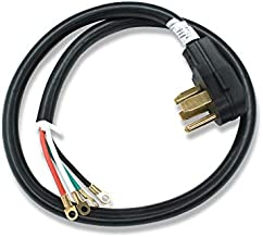 Appliance Pros AP-PT400L 4ft 30-amp Dryer Replacement Plug, Dryer Electric Cord, Four Prong Wire Power Cord w/Ring Terminals and Adjustable Power Cord Strain Relief Bracket | Compatible w/ W10834027