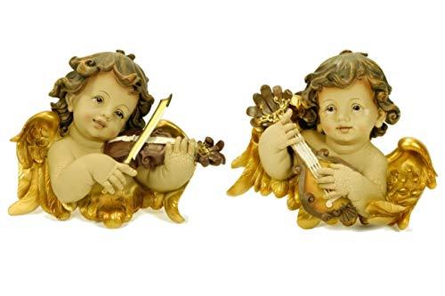 Set de 2 Figuras Decorativas Religiosas Bustos Angelitos Adornos y Esculturas. Decoración Hogar. Regalos Originales. 2 x (25 x 10 x 22 cm.)