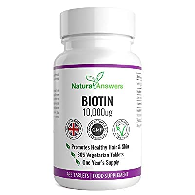 Biotin Hair Growth Supplement 365 Tablets (Full Year Supply) Biotin Tablets 10,000MCG (Vitamin B7) Biotin UK Manufactured Supplement by Natural Answers