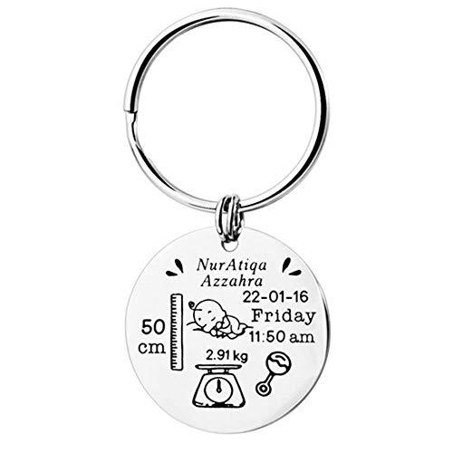 sunnlPersonalisierte Baby Geburt Schlüsselanhänger mit eingraviertem Babynamen, Geburtshöhe, Gewicht, Datum und Uhrzeit, besondere Gedenkgeschenke (Silber-1)