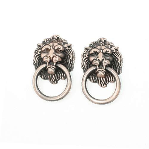 X-DREE 2 Pcs Retro Style Copper Tone Metal Ring Lion Head Shape Door Handle(2 piezas estilo retro en tono cobre anillo de metal cabeza de león en forma de manija de la puerta
