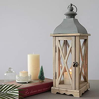 6 x 6 x 20 Inches Wood Wooden Decorative Candle Lantern Vintage Rustic Large Hanging Candle Holder with Real Glass for Indoor Outdoor Use from S.H.