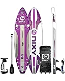 """NIXY Newport Paddle Board All Around Inflatable SUP 10'6' x 33"""" x 6"""" Ultra-Light Stand Up Paddleboard Built with Dual Layer Woven Drop Stitch Includes Carbon Hybrid Paddle, Pump, Bag & More (Purple)"""