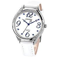 Comtex 腕時計 レディース クリスタル ホワイト 日本製クォーツ ウォッチ 革 バンド 時計 青い