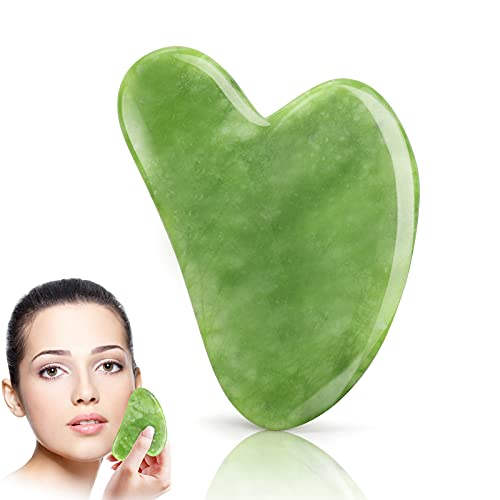 Gua Sha Facial Tool, Natural Guasha Jade Stone GuaSha Board Gua Sha Scraping Massage Tool with Smooth Edge for Physical Therapy and SPA Acupuncture Therapy Used for Face, Eyes, Neck and Body(Green)