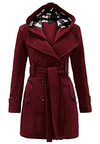 YMING Womens Jacket Long Sleeve Jacket Warm Hoodied Winter Coat Breasted Trench Coat with Belt Wine Red S