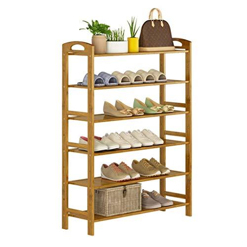 Scarpiere Scarpiera a 6 ripiani Scaffale portaoggetti verticale Scaffale portaoggetti Bambù naturale 24 paia di scarpe 80 x 26 x 108 cm (larghezza x profondità x altezza) Scarpiera per corridoio
