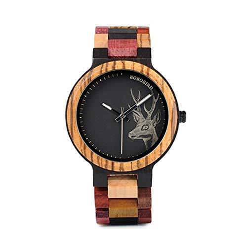GKXAZ Quarz-Uhr-Mann-Elk Gravur Holz-Frauen-Uhren in Holzbox (Color : Mens 44mm)