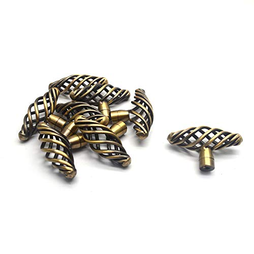 Karcy - Juego de 8 tiradores para jaula de pájaros (6,3 x 2,9 x 3,4 cm) con tornillos de montaje de aleación de bronce y mango ovalado