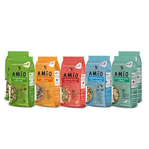 AMIO | ZuppamiXlegumi | Multipack ZuppamiXlegumi e Avena(x2)/Farro/Grano Saraceno/Riso Integrale/Quinoa(x2) | 7 confezioni da 500 g | 28 porzioni | Pasto completo | Piatto unico e nutriente |