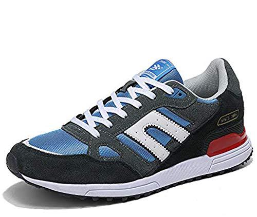 AX BOXING Zapatillas Hombres Deporte Running Sneakers Zapatos para Correr Gimnasio Deportivas Padel Transpirables Casual 40-46 (44 EU, Azul Amarillo)