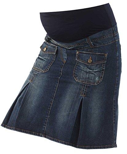 Christoff Schwangerschaftsrock Umstandsrock Jeans-Rock - Taschen Falten Ziernähte - hoher Bund - A-Form - 413/88/8 - blau - Gr. S