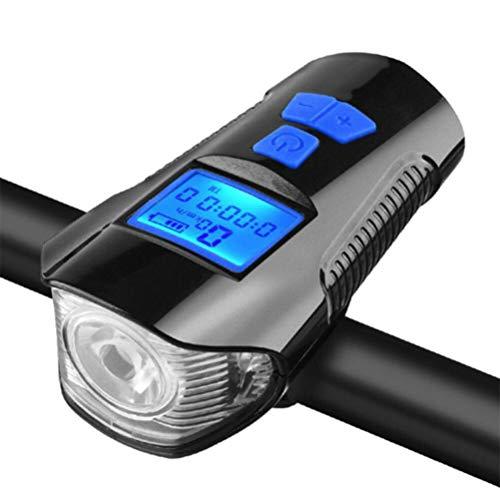 Jackallo Fahrrad-Kilometerzähler, Fahrrad-Kilometerzähler mit LED-Licht und Lautsprecher Wasserdichtes Fahrrad-Nachtlicht