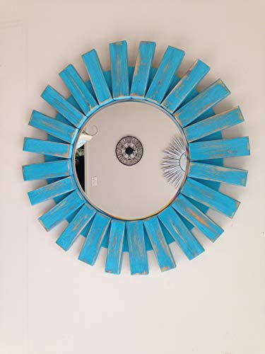 "Sunburst True Turquoise Wall Mirror Round Handmade 22"""