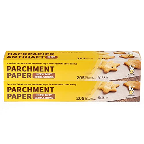 Parchment Paper for Baking, katbite Baking Paper with Heavy Duty, Non-stick, Easy to Cut, 2 Pack 15 in x164 ft Parchment Paper Roll total in 410 SQFT