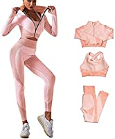 CRGSM スリーピースの新しいスポーツウェアセット女性の ジムワークアウト速乾性ネットレッドヨガ服 (Color : Pink orange, Size : Medium)