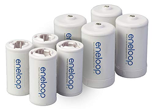Panasonic K-KJBS1/2E8A eneloop C Size Battery Adapters for Use with Ni-MH Rechargeable AA Battery Cells, 8 Pack
