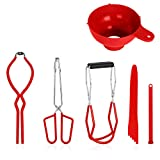 Canning Kit Canning Tools Canning Set Canning Supplies Include Canning Funnel, Jar Lifter, Jar Wrench, Lid Lifter, Canning Tongs, Bubble Popper/Bubble Measurer/Bubble Remover Tool (Red)