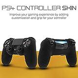 Fosmon Étui Protection pour Manette PS4 DualShock - Housse Protectrice en Silicone pour Manette, 1 Étui Protecteur + 8 Capuchons de Stick pour Playstation 4 - PS4 Slim - PS4 Pro – Noir