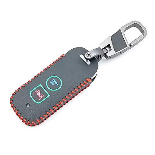 HEZHOUJI Auto Chiave Case, Custodia portachiavi in pelle a 2 bottoni, per Honda X Adv Sh 300 150 125 Forza 300 125 PCX150 2018, nero