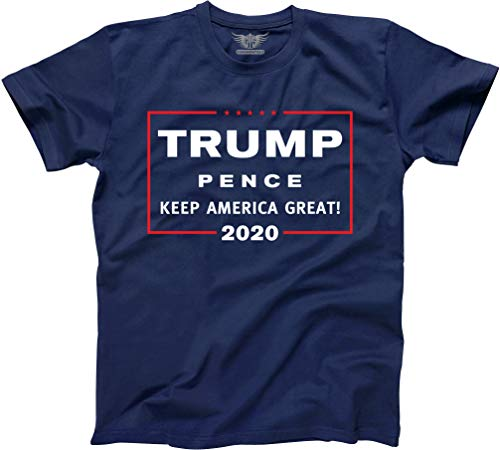 GunShowTees Men's Donald Trump President 2020 Keep America Great Shirt (2X-Large) Navy