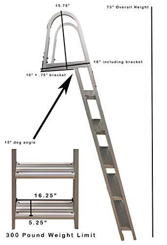 Class A Customs Marine Pontoon Boat Dock Heavy Duty Aluminum 5 Step Removable Boarding Ladder FIXD-PBDL5S-AL