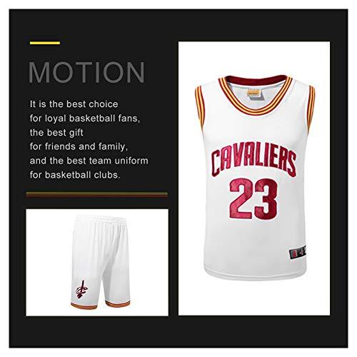 James # 23 Cavs Camisetas de Baloncesto para Hombres, Camisetas de Baloncesto de College City Ropa Tank Top Entrenamiento Traje Chaleco Camiseta Deportiva (S-3XL)-White-M