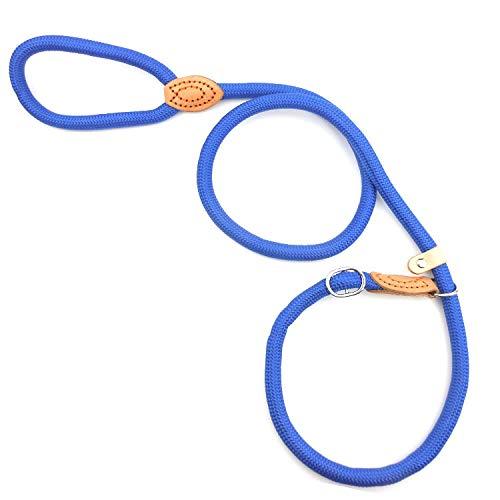 ETbotu hondenriem gemaakt van nylon met ketting voor kleine honden, middelgrote grootte, blauw M