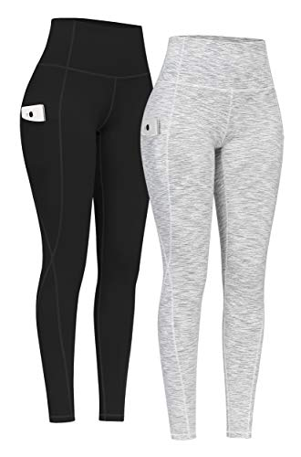 PHISOCKAT 2 Pack High Waist Yoga Pants with Pockets, Tummy Control Yoga Pants for Women, Workout 4 Way Stretch Yoga Leggings (Black+Space Dye White, Large)